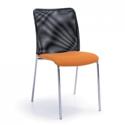 Besucherstuhl Sun-H 4-Fuß, Sitz gepolstert, Rücken mit Netzrücken, stapelbar
