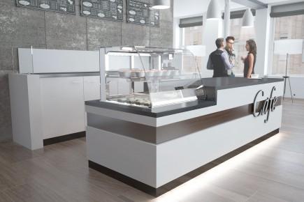 Cafe Bistroeinrichtung mit Kühlung und Rückbuffet