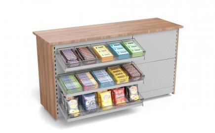 Kiosk Theke mit Süßwarenvorbau 1805mm