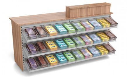 Kiosktheke mit Süßwarenvorbau und Sichtschutz 2140mm