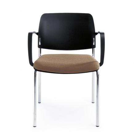Konferenzstuhl Bit 560H 4-Fuß, Sitz gepolstert, Rücken aus Kunststoff, stapelbar