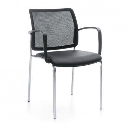 Konferenzstuhl Bit 555H 4-Fuß, Sitz aus Kunststoff, Netzrücken, stapelbar