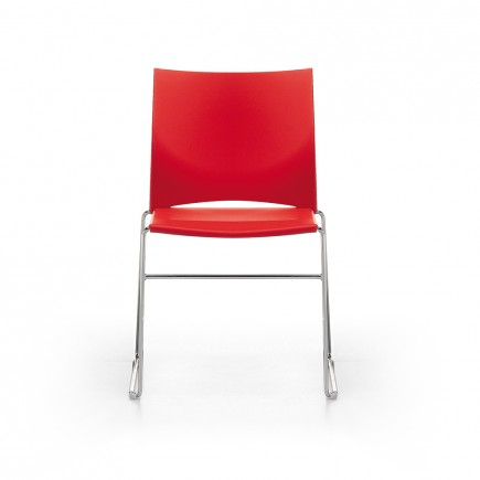 Konferenzstuhl Ariz 550V Kufengestell, Sitz und Rücken aus Kunststoff, stapelbar