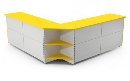 Verkaufstheke Standardsystem im Außenwinkel L-Form 2670 / 2670mm