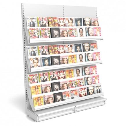 Zeitschriftenregal mit Metallrückwand B 2000mm