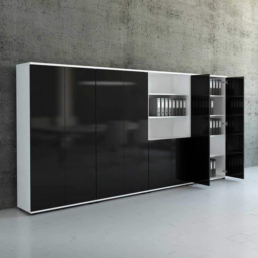 Büroschrank design  Aktenschrank mit Glastüren und hochglanz Front, 5OH