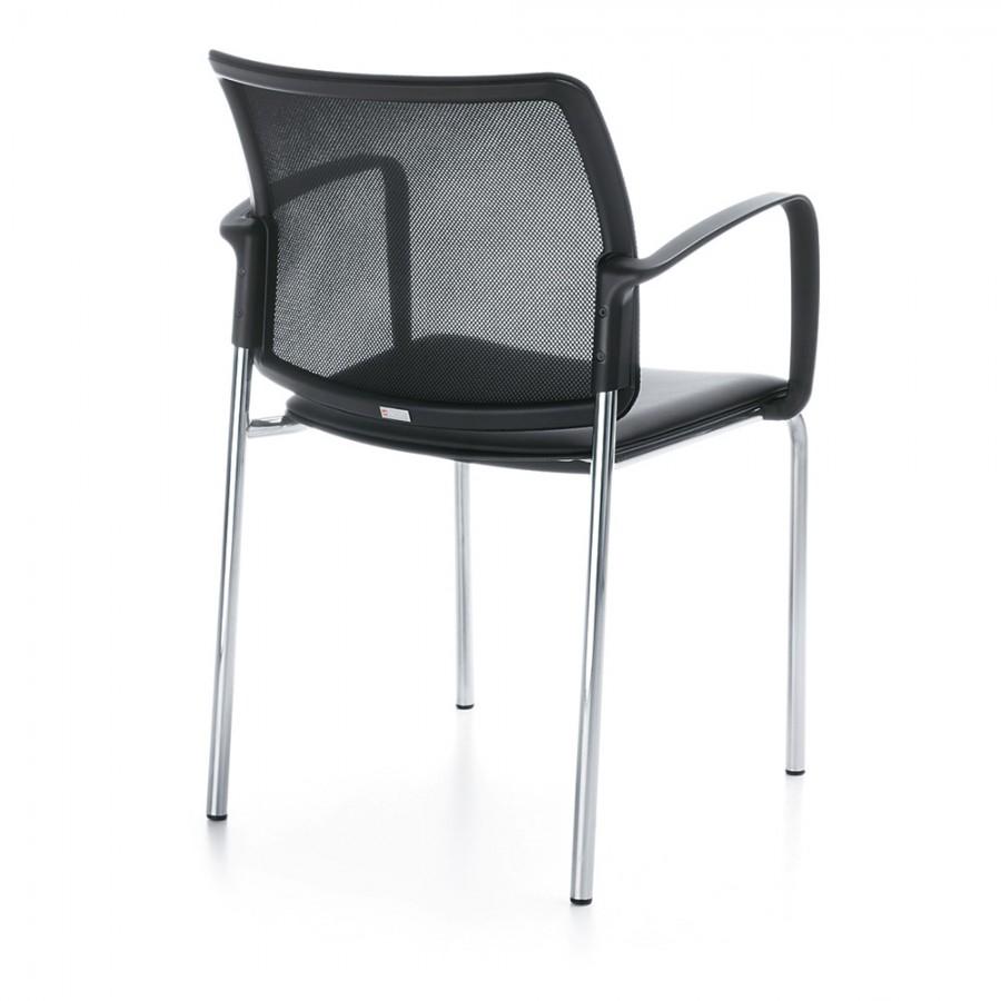 Konferenzstuhl Bit 555H 4 Fuß, Sitz aus Kunststoff, Netzrück