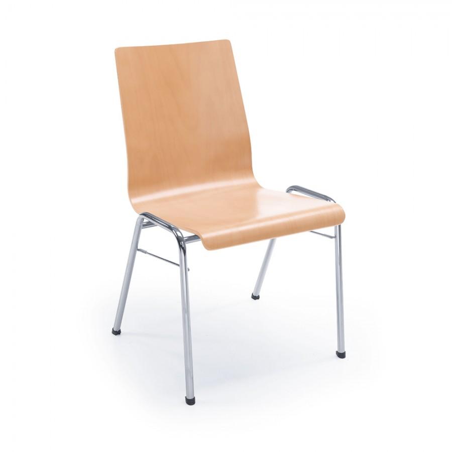 Besucherstuhl Ligo K13H 4-Fuß, Rücken und Sitz aus Schichtho