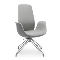 Konferenzstuhl-Polsterstuhl Ellie 10V3, mit Spinnenfuß drehbar, Rückenlehne hoch