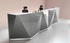 Praxistheke Empfangstheke ALPHA mit Glasfront, Form gerade