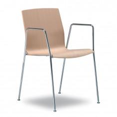Kimbox Armlehnenstuhl aus Eichenholz, Gestell Chrom, stapelbar