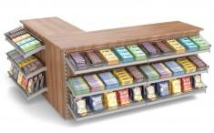 Kiosk Kassentheke im Winkel mit Süßwarenvorbau 2140mm