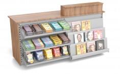 Kiosktheke mit Süßwarenvorbau and Zeitschriftenablage 2140mm