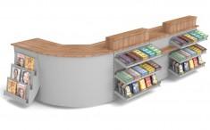 Tankstellen Kiosk Winkeltheke mit Süßwarenvorbau, Zeitschriftenablage, Sichtschutz 3685mm