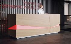 moderne Empfangstheke Dynamico, futuristisches Design