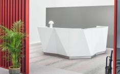 Praxistheke Empfangstheke ALPHA mit Glasfront, Form im Winkel