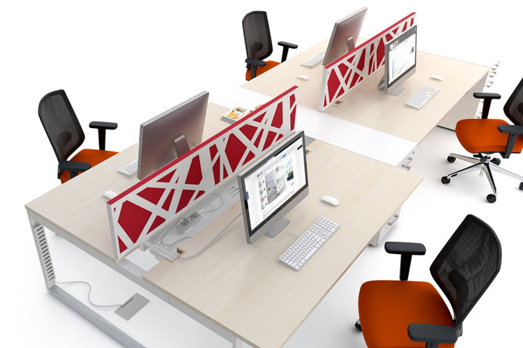 Schreibtisch für 4 Personen inkl. Trennwände